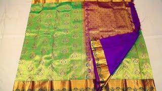 Parrot green silk saree with purple border - SSFEB2O4A9739