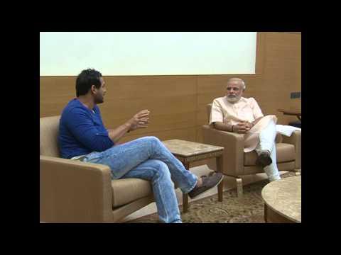 Actor Mr. John Abraham meets Shri Narendra Modi in Gandhinagar