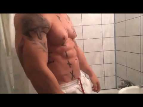 Muscle Viking Flexing In The Shower NAKED!