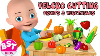 Baby Learn Names & Colors of Fruits and Vegetables with 3D Velcro cutting fruits and vegetables Toy