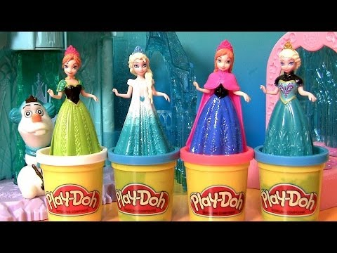 Queen Elsa Magiclip Disney Frozen Dolls Princess Anna Play Doh Design a Dress for Elsa Magic Clip
