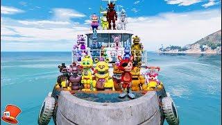 ANIMATRONICS EPIC SEA VOYAGE ADVENTURE! (GTA 5 Mods For Kids FNAF RedHatter)