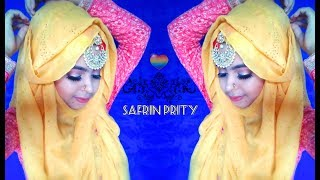 Party Looking Hijab Style For Holod/Mehedi/Bridal || Safrin Prity