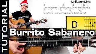 Villancico Burrito Sabanero en Guitarra Tutorial MUY FACIL  con acordes  completo