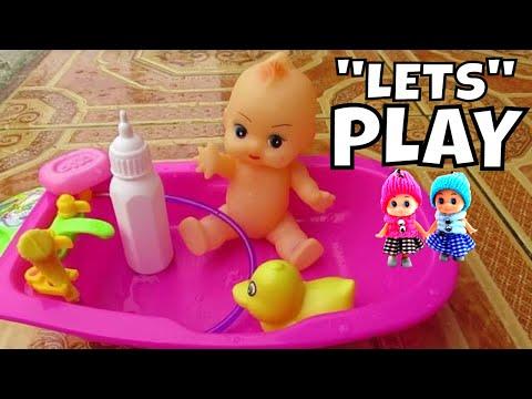Mainan Anak Adek Adekan Boneka Bayi Lucu Mandi 💛 Baby Toddler Doll Bath Time With Duck