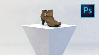 Fotomontaje de zapato real sobre fondo 3D. Vídeo tutorial Photoshop // marcocreativo.