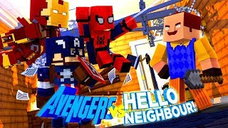 Minecraft Hello Neighbour - THE NEIGHBOUR & THANOS TEAM UP TO FIGHT THE AVENGERS w/TinyTurtle