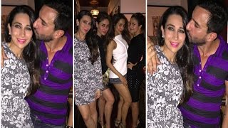 Saif Ali Khan Kisses Karishma Kapoor On His Birthday Party | View Pic's