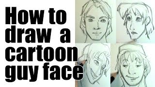 How to draw a male cartoon face
