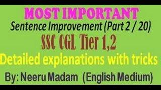 SSC CGL : English Sentence improvement Part 2 / 20