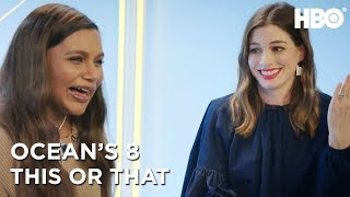 Anne Hathaway & Mindy Kaling: This Or That | Ocean's 8 (2018) | HBO