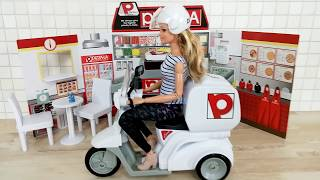 Barbie doll Japanese Pizza Shop Pizza Delivery Bike Motorcycle ; Barbie Pizzeria باربي دمية لعبة