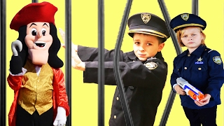 The Assistant vs Captain Hook comedy: Saving Officer Ryan Kids Cops Funny Family Channel Jail video