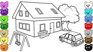 Learning Colors for Kids with 3D House Courtyard Coloring Pages