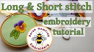 Hand Embroidery - Silk Shading - Long and Short stitch - Pansy Part 2, watch Part 1 first.