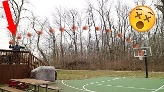 CRAZIEST BASKETBALL SHOT EVER! GOES OFF BACK RIM AND SWISHES IN! DEEP 3 POINTERS!