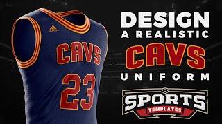 Design the Basketball Uniform of NBA Cleveland Cavaliers Using PSD Template | Photoshop Tutorial