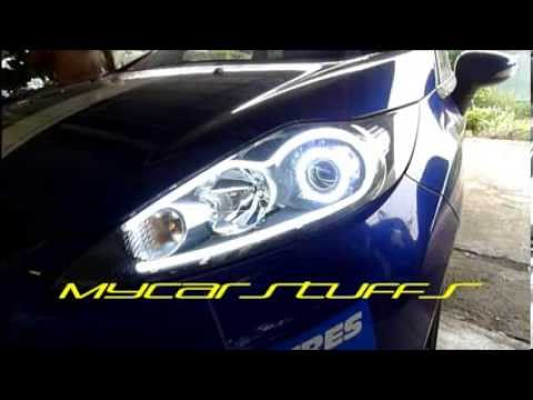 Ford Fiesta MK7 DIY LED tube with 2.5 projector and LED angel eyes