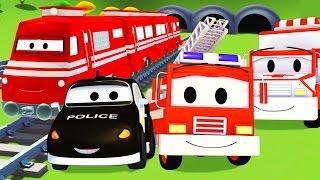 La Super Patrouille: camion de pompier et voiture de police, avec le Train et l