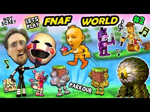 ♫ FNAF WORLD ♫ #2:  Comeback Victory & Minecraft Addiction w/ FGTEEV Duddy & Chase 🎼🎤♬🎶 ♪ (New Boss)
