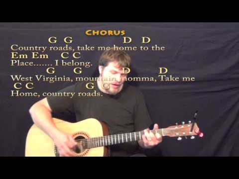 Country Roads (John Denver) Strum Guitar Cover Lesson in G with ChordsLyrics