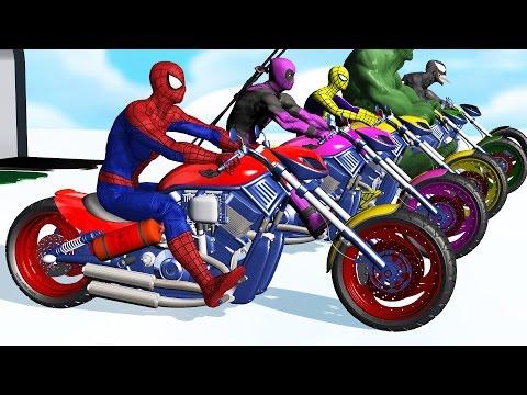 Learn Colors - Motorcycle w Superhero Spiderman Cartoon Videos with Car for kids & Nursery Rhymes