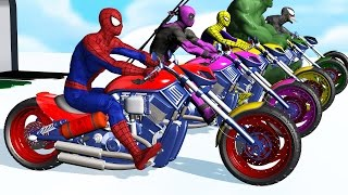 Learn Colors - Motorcycle w Superhero Spiderman Cartoon Videos with Car for kids & Nursery Rhymes