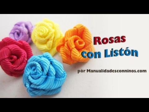 Episodio 576 Cómo hacer rosas de listón o cinta de gro manualidadesconninos