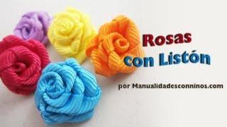 Episodio 576 - Cómo hacer rosas de listón o cinta de gro - manualidadesconninos