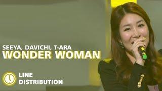 DAVICHI, T-ARA, SEEYA - Wonder Woman (Live Ver) : Line Distribution (Color Coded Bars)