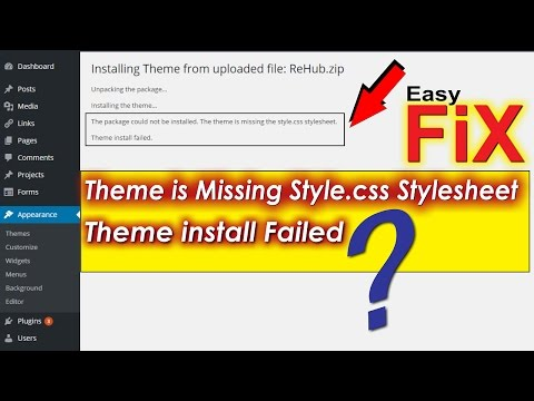 The Theme Is Missing the Style.css Stylesheet- FIX for Package Error