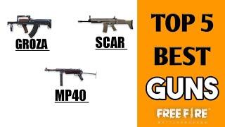 TOP 5 BEST WEAPONS IN FREEFIRE BATTELGROUND!! (HINDI) FULL DETAILS ABOUT TOP GUNS !! ||FREEFIRE BG||