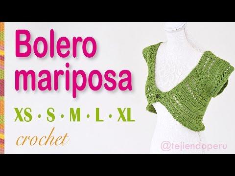 Bolero o torera mariposa tejido a crochet para mujeres en 5 tallas XS·S·M·L·XL