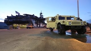 US Marines High Pressure Wash: Truck, Humvee and the Giant CH-53E Helicopter