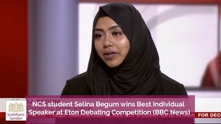 Selina Begum wins best individual speaker at Eton Debating Competition (on the BBC News Channel)