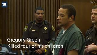 Scarred wife confronts husband in court after he murdered their four children