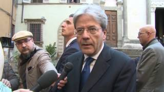 Gentiloni a Pistoia, visita della città e punto stampa