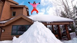 ROOF JUMPING INTO GIANT SNOW PILE