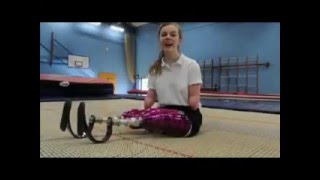 Quadruple amputee Izzy Weall shows off skills on trampoline