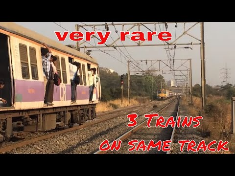 Very rare 3 trains on same track | Harbour Route | Panvel Station