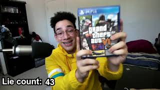 """Sernanado """"Unboxing GTA VI"""" except every time he lies the speed increases by 1%."""