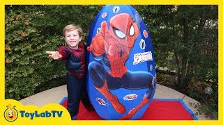 Giant Spiderman Surprise Egg Opening & Fun Toys for Kids with ToyLabTV