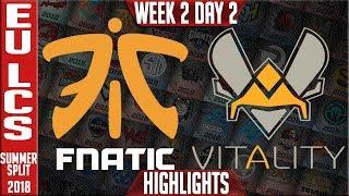 FNC vs VIT Highlights | EU LCS Summer 2018 Week 2 Day 2 | Fnatic vs Vitality Highlights