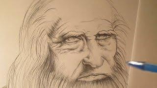 Leonardo Da Vinci, mi dibujo de su autorretrato, homenaje a un grande del Arte