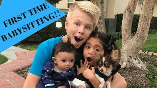 Carson Lueders babysits Ava and Jayden!!! First time EVER babysitting...