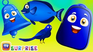 Learn Blue Colour with Funny Egg Surprise & Blue Color Song | ChuChuTV Surprise Eggs Colors for Kids