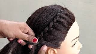 Beautiful PONYTAIL Hairstyle for Medium Hair || Easy Side Braid With Ponytail Hairstyles