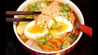 Noodles soup with boiled eggs