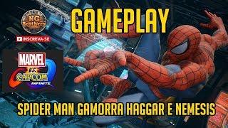 Marvel vs. Capcom: Infinite Gameplay Spider Man-Gamorra-Haggar-Nemesis