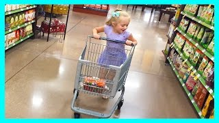 Grocery Store Shopping Trip Fun With Kid Size Shopping Cart & Play Doh Girl Buying Snacks for School